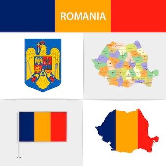Mapa e brasão da bandeira da romênia