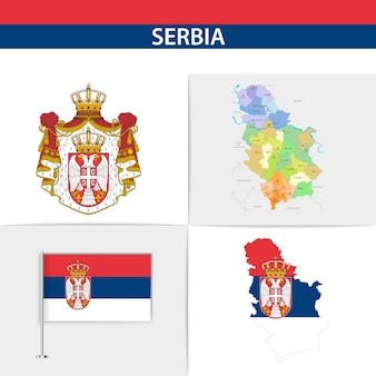 Mapa e brasão da bandeira da sérvia