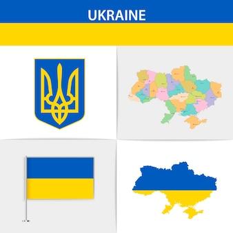 Mapa e brasão da bandeira da ucrânia