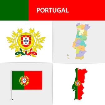 Mapa e brasão da bandeira de portugal