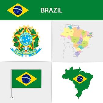 Mapa e brasão da bandeira do brasil