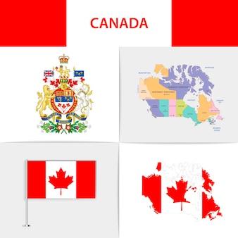 Mapa e brasão da bandeira do canadá