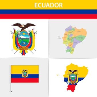 Mapa e brasão da bandeira do equador