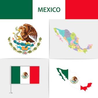 Mapa e brasão da bandeira do méxico