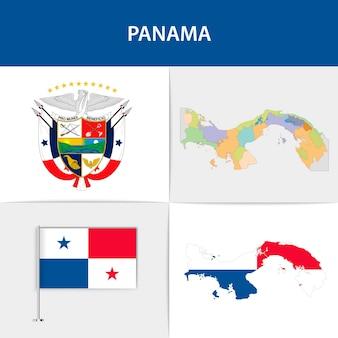 Mapa e brasão da bandeira do panamá
