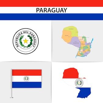 Mapa e brasão da bandeira do paraguai
