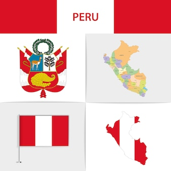 Mapa e brasão da bandeira do peru