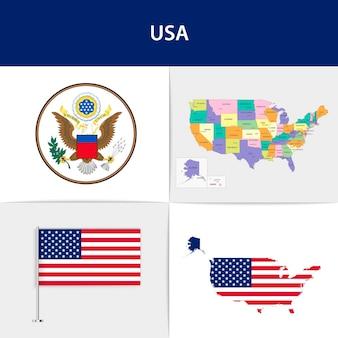 Mapa e brasão da bandeira dos eua Vetor Premium