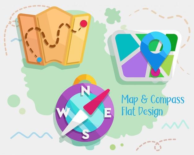 Mapa e bússola design plano