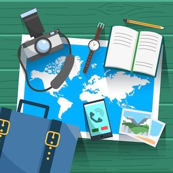 Mapa e elementos de viagem com design plano