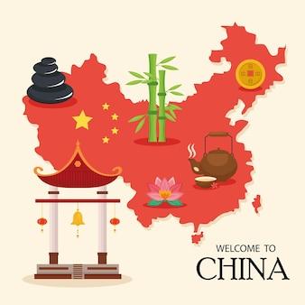 Mapa e ícones da china