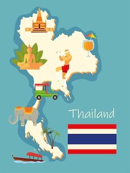 Mapa e ícones da tailândia