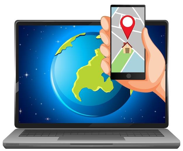 Mapa e localização em dispositivos eletrônicos