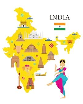 Mapa e pontos de referência da índia com pessoas em roupas tradicionais