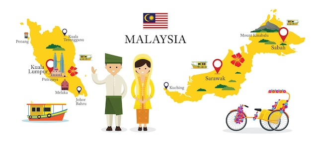 Mapa e pontos de referência da malásia com pessoas em roupas tradicionais