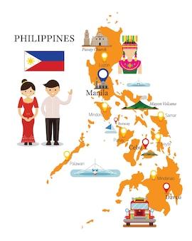 Mapa e pontos de referência das filipinas com pessoas em roupas tradicionais
