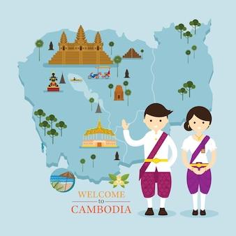 Mapa e pontos de referência do camboja com pessoas em roupas tradicionais