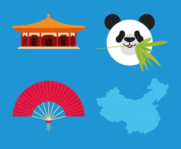 Mapa e símbolos da china