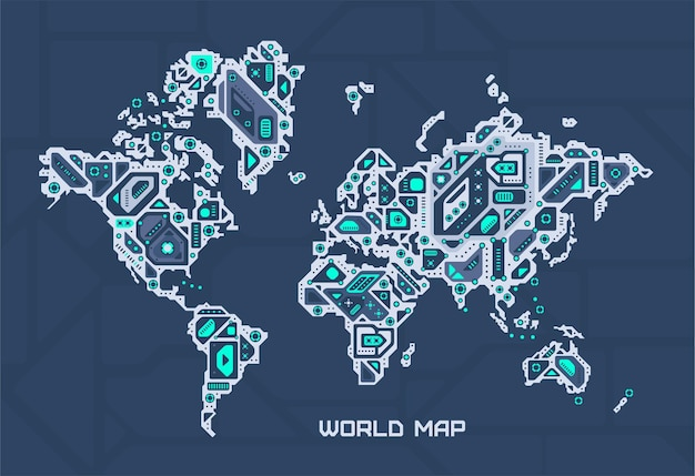 Mapa eletrônico mundial.