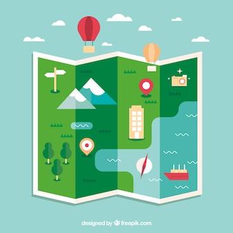 Mapa engraçado e elementos de viagem com design plano