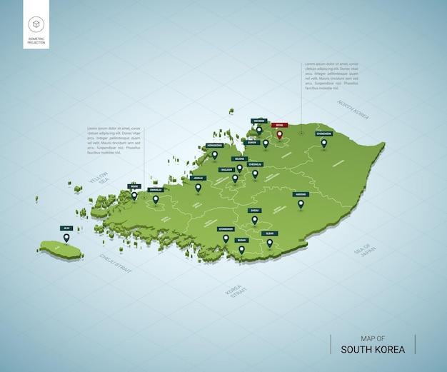 Mapa estilizado da coreia do sul mapa verde isométrico em 3d com cidades