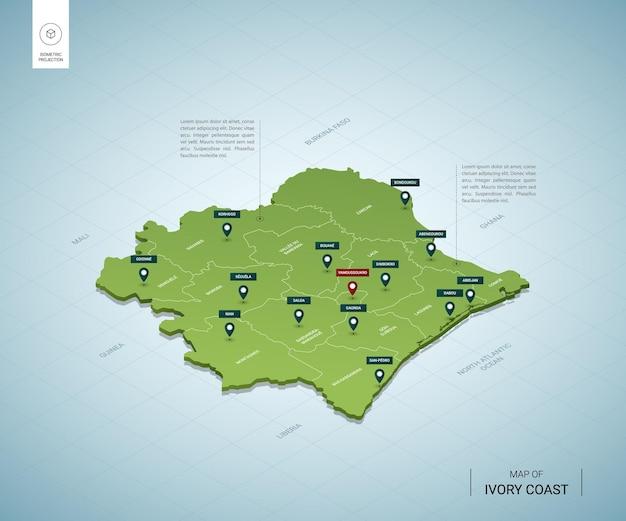 Mapa estilizado da costa do marfim mapa isométrico 3d verde com cidades