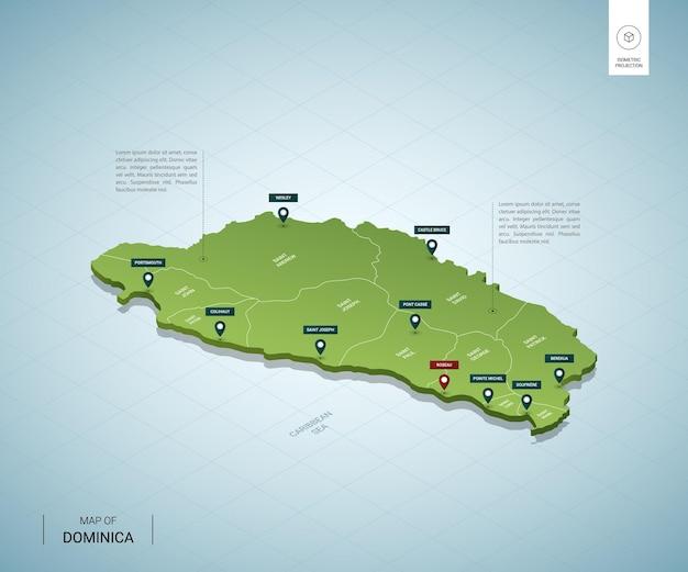 Mapa estilizado da dominica.