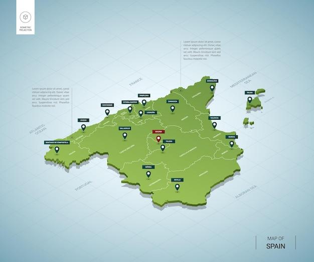 Mapa estilizado da espanha mapa verde isométrico em 3d com cidades