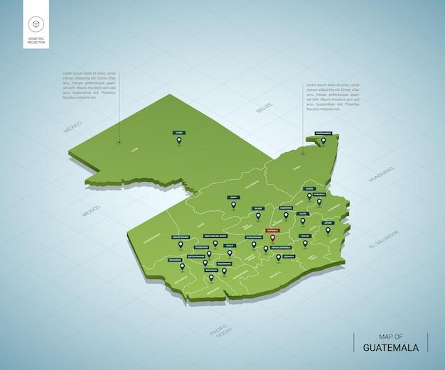 Mapa estilizado da guatemala.