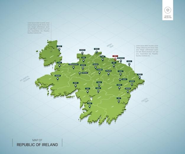 Mapa estilizado da irlanda mapa verde isométrico 3d com cidades