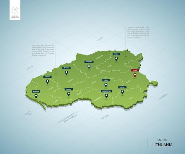 Mapa estilizado da lituânia. mapa verde 3d isométrico com cidades, fronteiras, capital vilnius, regiões.