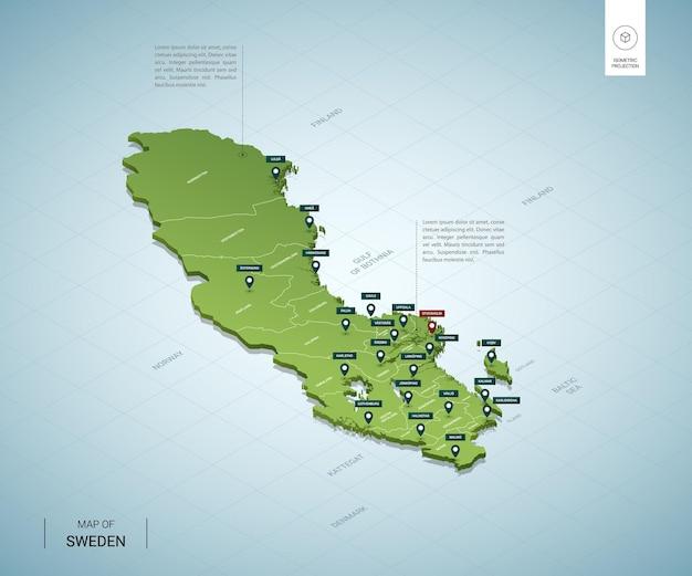 Mapa estilizado da suécia mapa verde isométrico 3d com cidades, fronteiras, capital estocolmo, regiões