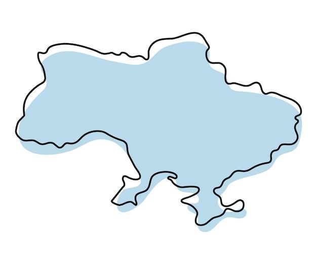 Mapa estilizado de contorno simples do ícone da ucrânia. esboço azul do mapa da ilustração vetorial da ucrânia