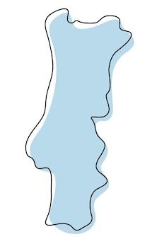 Mapa estilizado de contorno simples do ícone de portugal. esboço azul de ilustração vetorial de mapa de portugal