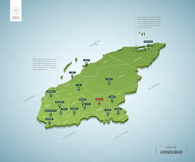 Mapa estilizado de honduras.