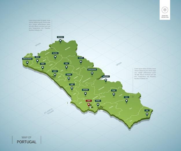 Mapa estilizado de portugal. mapa verde 3d isométrico com cidades, fronteiras, capital lisboa, regiões.