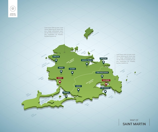 Mapa estilizado de saint martin. mapa verde isométrico 3d com cidades, fronteiras, capitais, regiões.