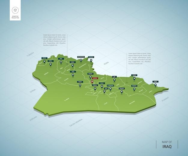 Mapa estilizado do iraque.