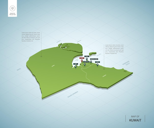 Mapa estilizado do kuwait. mapa verde isométrico 3d com cidades, fronteiras, capitais, regiões.