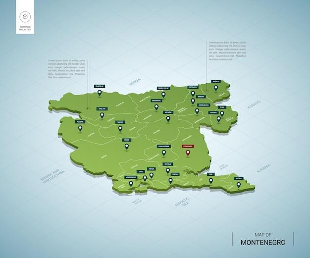 Mapa estilizado do mapa verde 3d isométrico de montenegro com cidades, fronteiras, capital podgorica e regiões