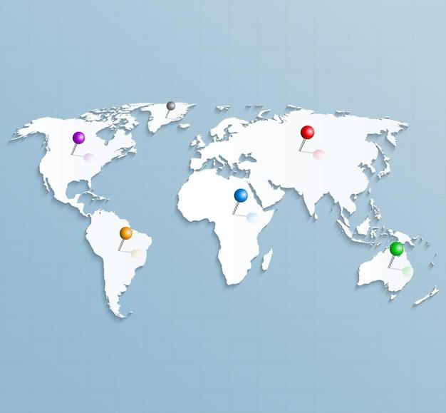Mapa estratégico do mundo em papel com alfinetes coloridos Vetor Premium