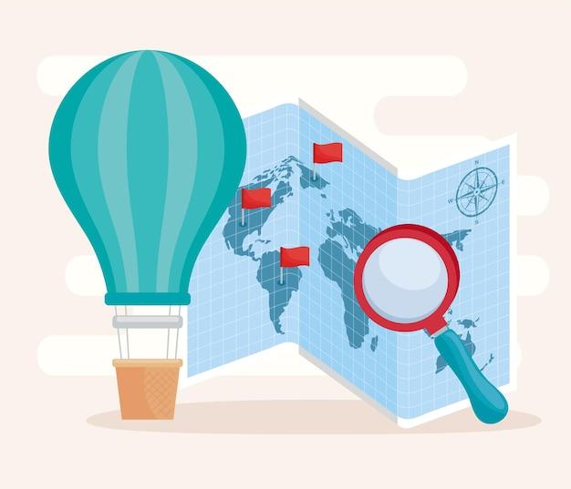 Mapa geográfico e ícones
