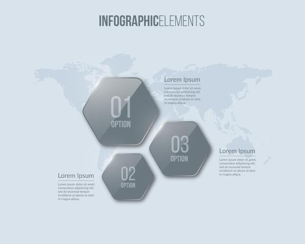 Mapa global com elementos de infográfico de vidro. conceito de negócio com 3 opções.
