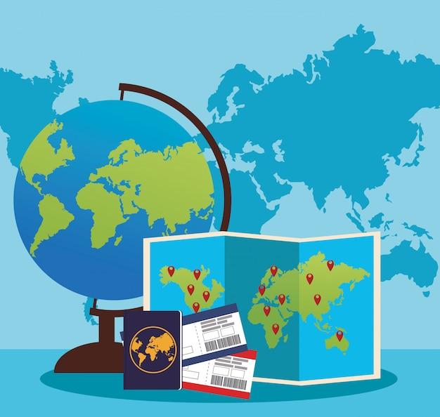 Mapa globo e mundo com passaporte e passboards