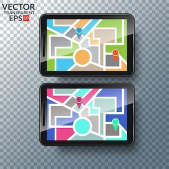 Mapa gps na exibição do smartphone