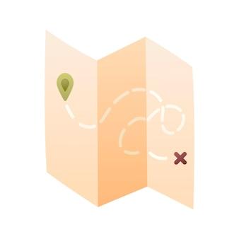 Mapa gradiente dos desenhos animados com a rota