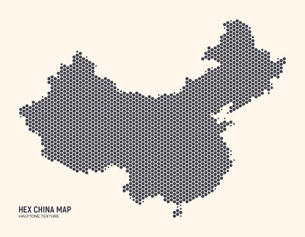 Mapa hex china isolado no fundo claro. mapa da textura hexagonal de meio-tom da china