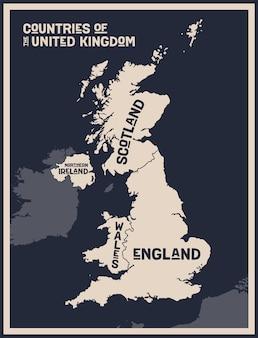 Mapa impresso em preto e branco dos países do reino unido