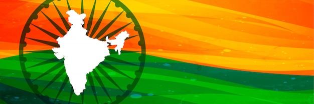 Mapa indiano e bandeira banner design com espaço de texto