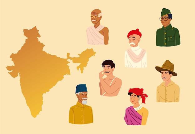Mapa indiano e pessoas